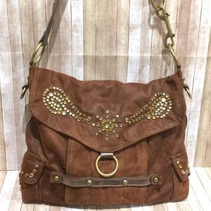 KVZ Brown Sueded Hobo Crossbody Bag w/Bling Studs
